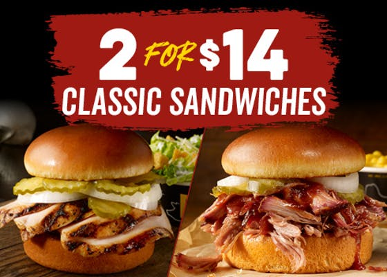 2 Sandwiches for $14