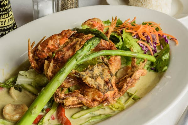 Soft Shell Crab with Asparagus Sauce