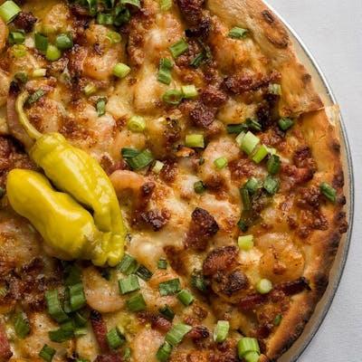 Creamy Shrimp & Tasso Pizza
