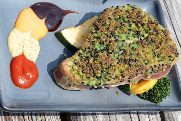 Sesame-Wasabi Pea-Crusted Yellowfin Tuna