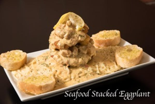 Seafood Stacked Eggplant