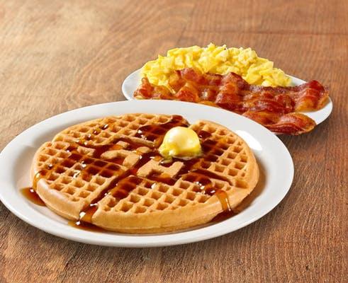 Waffle Platters with Bacon or Sausage