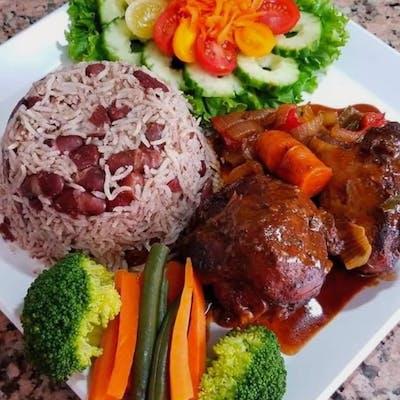 Brown Stew Chicken Meal