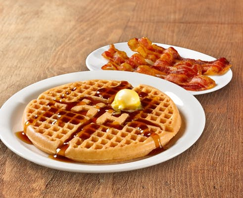 Golden Waffle with Bacon or Sausage