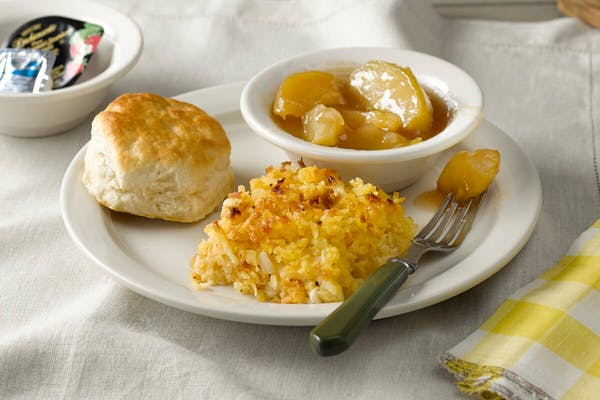 Hashbrown Casserole, Fried Apples n' Biscuit