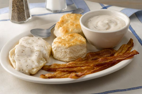 Biscuits n' Gravy with Bacon or Sausage