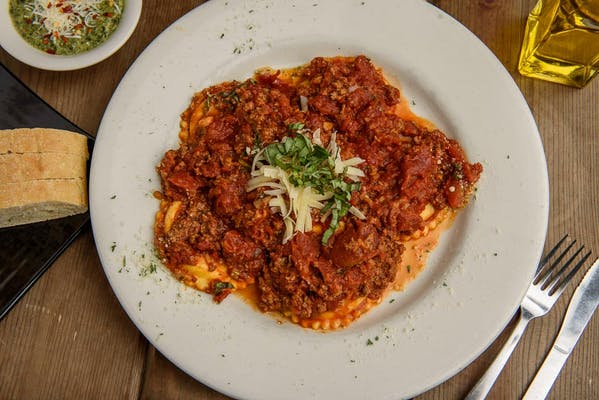 Cheese Ravioli with Salute Bolognese Sauce