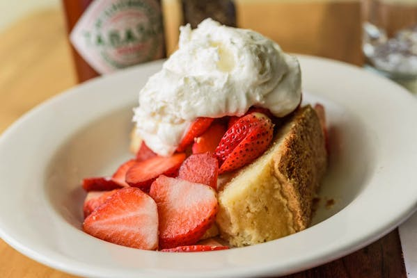 Sour Cream Pound Cake with Strawberries & Whipped Cream