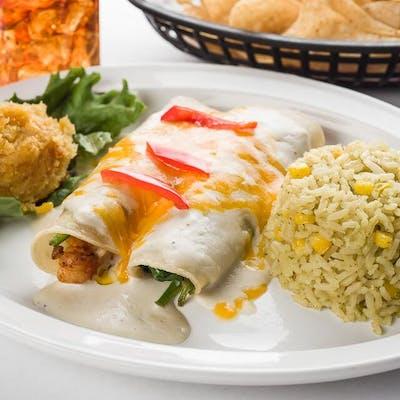 Lunch Shrimp & Spinach Enchiladas