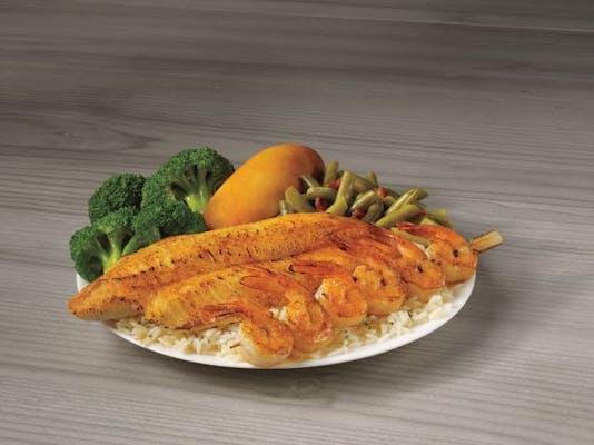 Grilled White Fish & Shrimp Skewer Meal