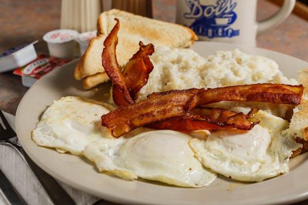 B2. (3) Eggs, Grits, Toast & Breakfast Meat