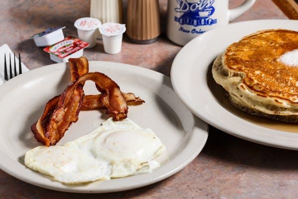 B6. Waffle or Pancakes, (2) Eggs & Breakfast Meat