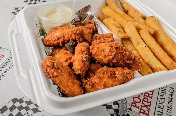 7 PC jumbo  Chicken Wing Basket with Fries