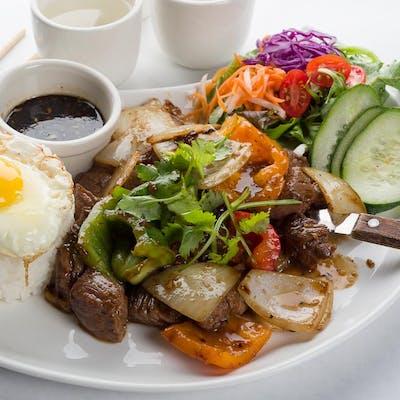Shaken Beef Rice Plate