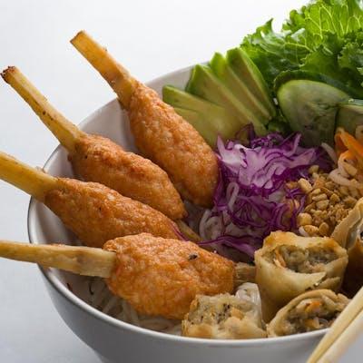 Vietnamese Sugar Cane Shrimp Vermicelli Bowl