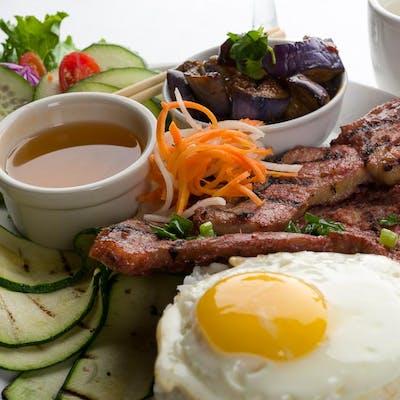 Grilled Marinated Pork & Fried Egg