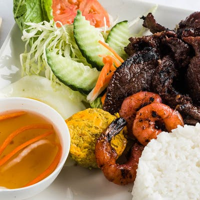 Grilled Marinated Beef Rice Plate