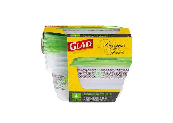 (4 ct.) Glad Food Storage Containers (Designer Series, Medium Rectangle)