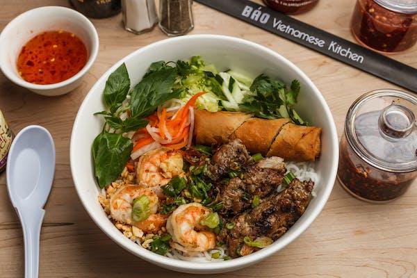 42. Grilled Shrimp, Grilled Skewer Pork & Egg Roll Vermicelli Bowl