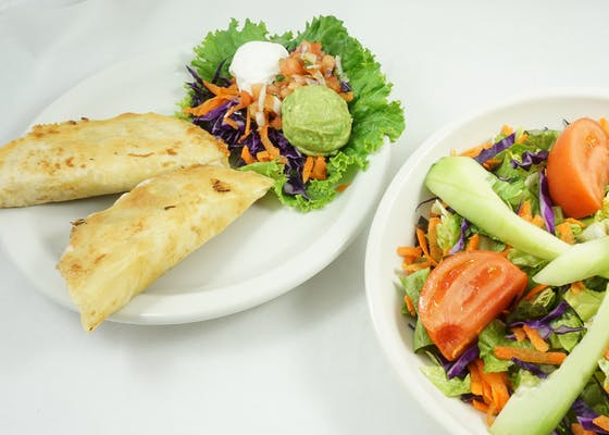 Tex-Mex Salad Combination with Fajita Chicken Quesadillas