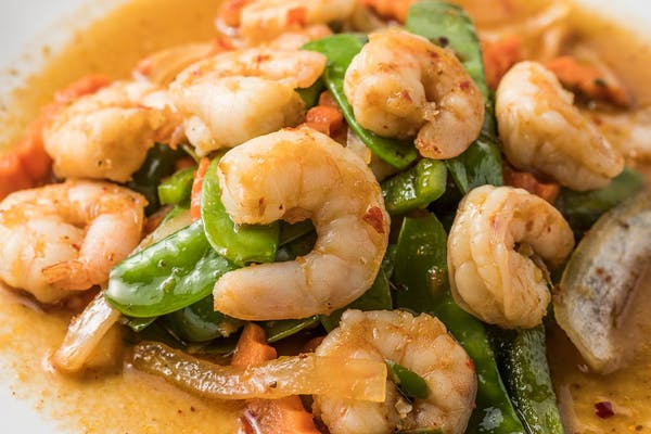 28. Spicy Snow Peas with Shrimp