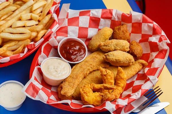 Fried Popcorn Shrimp & Fish Platter