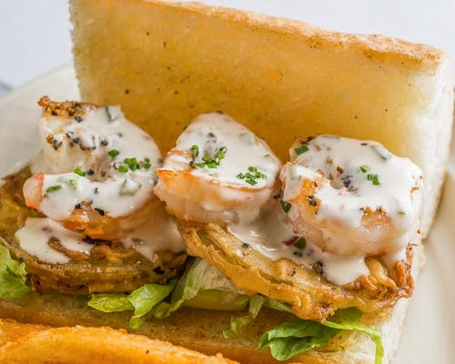Fried Green Tomato & Grilled Shrimp Sandwich