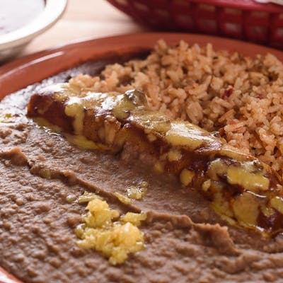 #1 Kid's Enchilada, Rice & Beans