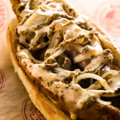 Cajun Bratwurst sandwich