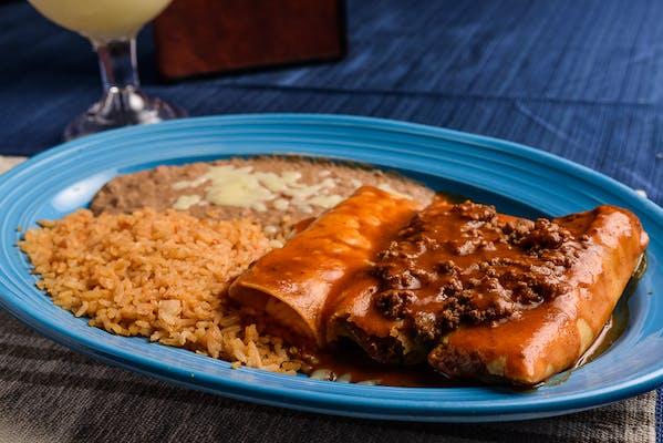 21. (2) Tamales, Cheese Enchilada, Rice & Beans