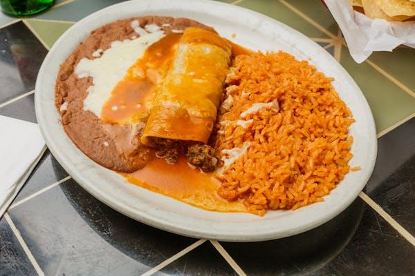 25. Enchilada, Taco, Rice & Beans
