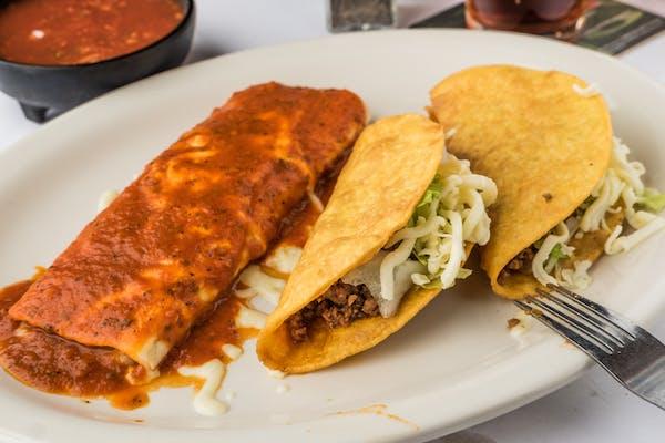 L1. Bean Burrito, Enchilada & Taco