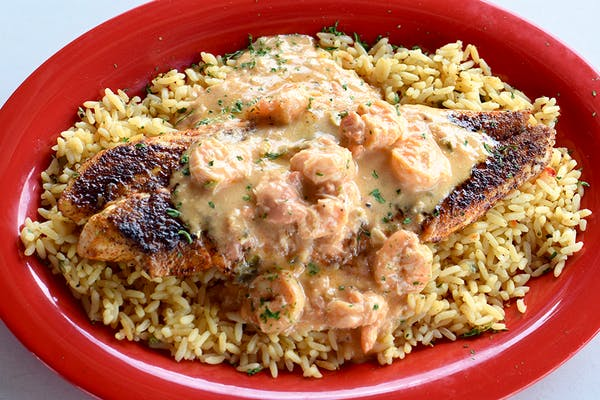 Blackened Redfish with Seafood Cream Sauce