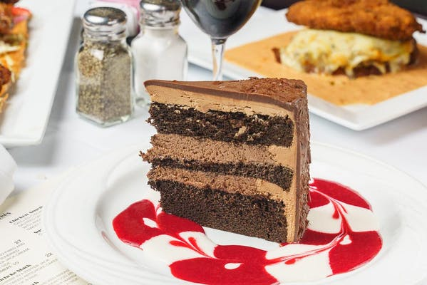 Chocolate Mousse Cake & Raspberry Sauce
