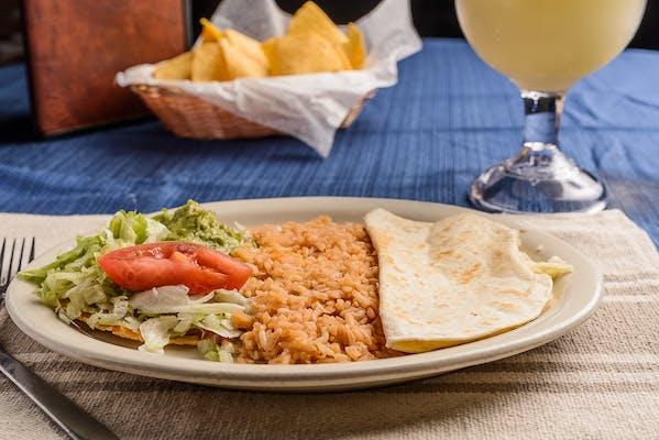 47. Cheese Quesadilla, Chalupa & Rice