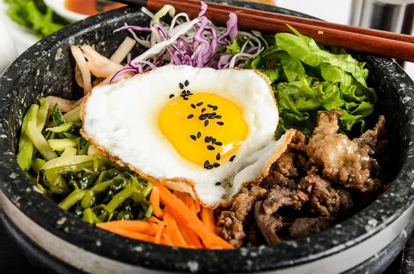 Hot Stone Bowl Bibimbap Steamed Rice Plate