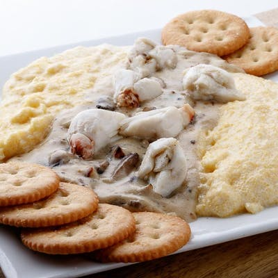 Polenta with Mushroom and Crab
