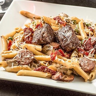 Steak, Tomato, & Alfredo Pasta