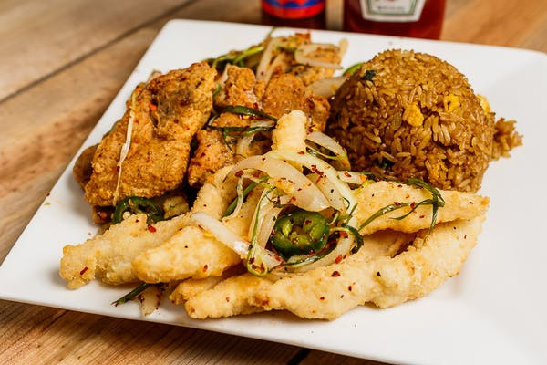 One Salt & Pepper Pork Chop & Six Fried Fish Strips