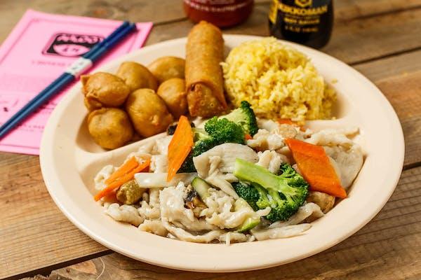 C4. Moo Goo Gai Pan & Sweet & Sour Pork