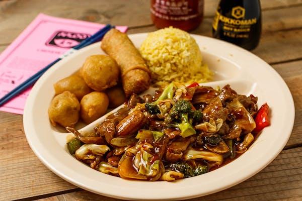 C6. Hunan Beef & Sweet & Sour Pork