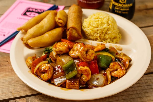 C7. Garlic Shrimp & Sweet & Sour Chicken