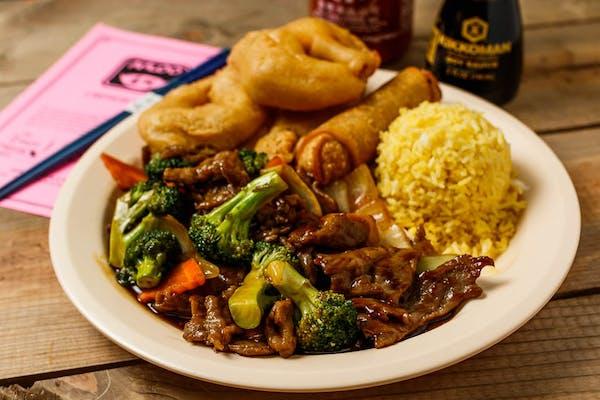 C9. Broccoli Beef & Sweet & Sour Shrimp