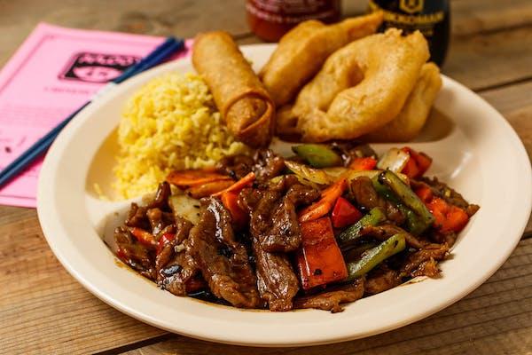 C10. Pepper Steak & Sweet & Sour Shrimp