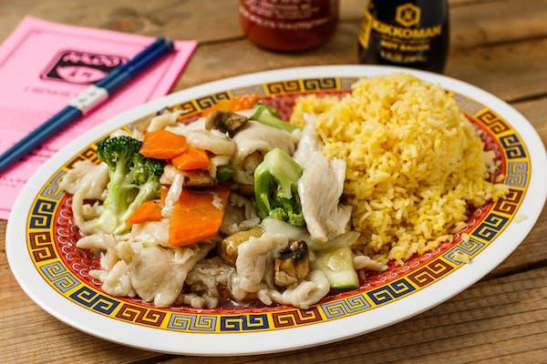 A4. Moo Goo Gai Pan Platter