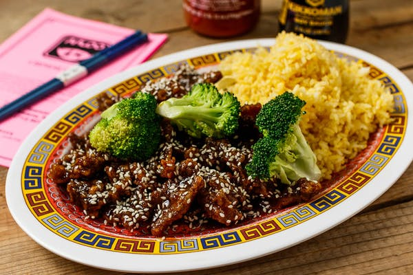A19. Sesame Beef Platter