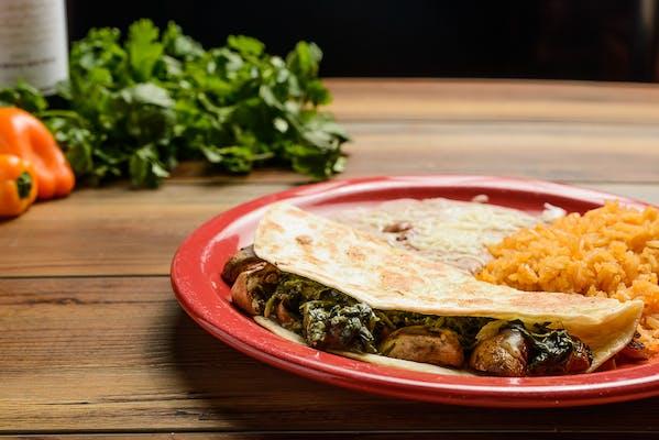 Lunch Mushroom & Spinach Quesadilla