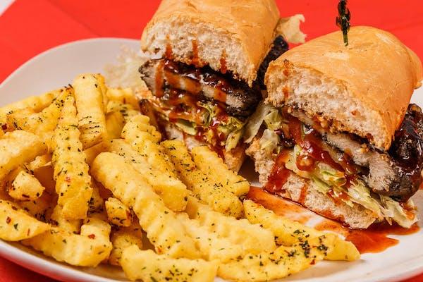 """(8"""") Jerk Chicken Poboy & Fries"""