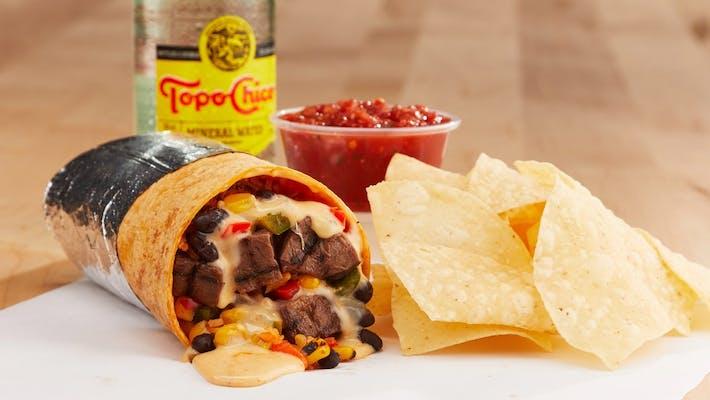 Steak Burrito + Chips, Dip & Bev.