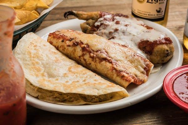 B. Chile Relleno, Chicken Quesadilla & Beef & Bean Burrito